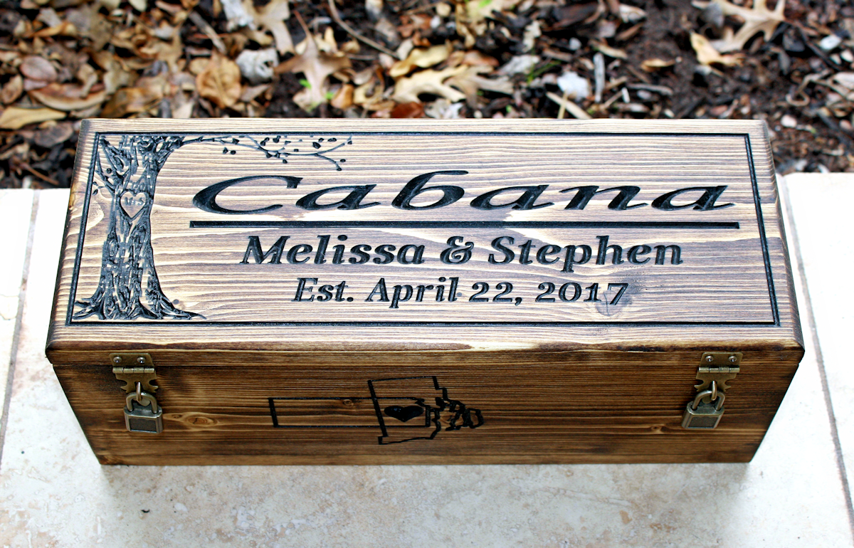 Wedding Wine box with tree of life-Rhode island and kansas